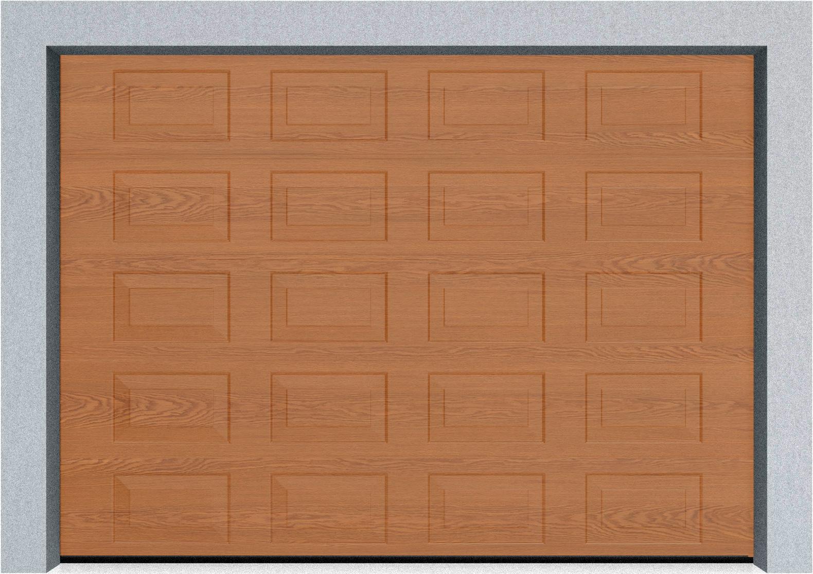 Секционные гаражные ворота Alutech Trend 2110x1900 филенка цвета под дерево, пружины растяжения, фото 1
